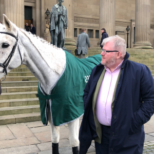 Paul Askew with Grand National 2012 winning Horse at St. Georges Hall, Liverpool at the 2020 Random Weights Lunch. Randox Health Grand National - The Art School at Aintree