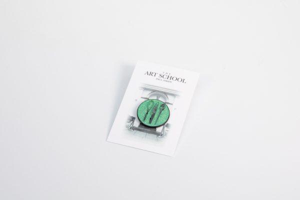 The Art School Green Lapel pin badge