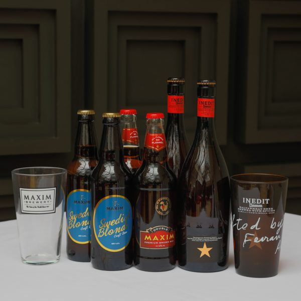 Dad's Beer box fathers day liverpool restaurant local idea. Estrella Inedit, Double maxim brewery, glassware.